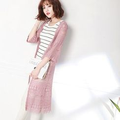 Tokyo Fashion - 3/4-Sleeve Cutout Long Cardigan