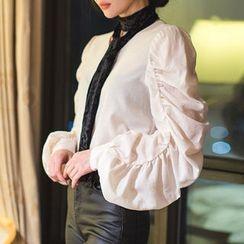 chuu - V-Neck Shirred-Sleeve Blouse with Scarf