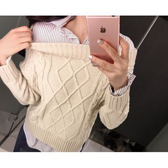 Marlangrouge - Inset Shirt Cable Sweater