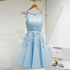 Royal Style - Sleeveless Embroidered Cocktail Dress