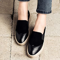 MIAOLV - Genuine Leather Brogue Slip Ons