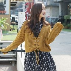Envy Look - Lace-Up Rib-Knit Cardigan