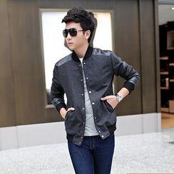 SICRIT - Faux Leather Panel Button Jacket