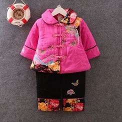 KUBEBI - Kids Set: Chinese Floral Top + Pants