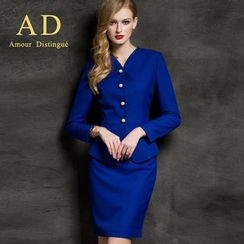Aision - Set: Button Blazer + Pencil Skirt
