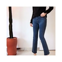 LEELIN - Flat-Front Boot-Cut Jeans