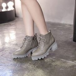 Monde - Lace-Up Block Heel Short Boots