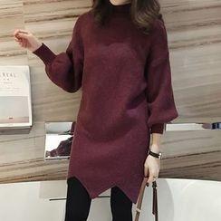 Little V - Mock Neck Wave Hem Knit Dress