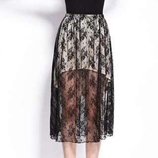 Moonbasa - Inset Skirt Long Lace Skirt