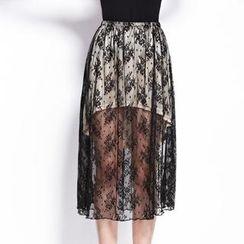 Moonbasa - Inset Skirt Long Lace Skirt