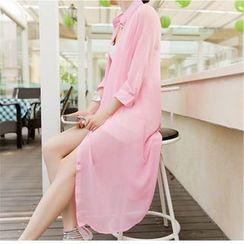 Silky Kiss - 3/4-Sleeve Long Chiffon Shirt