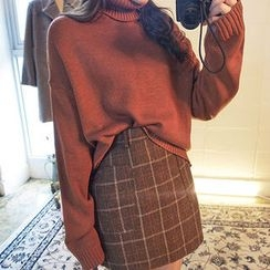 chuu - Plaid Wool Blend Mini Skirt