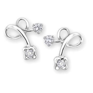 MaBelle - 'Love Berries Collection' 18K White Gold Diamond Earrings