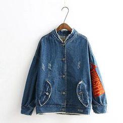 TOJI - Embroidered Distressed Buttoned Denim Jacket