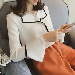Diado - Piped Bell Sleeve Chiffon Blouse