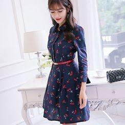 Nyssa - Cherry-Print A-Line Shirt Dress
