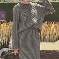 Cloud Nine - Set: Ribbed Sweater + Long Slit Knit Skirt