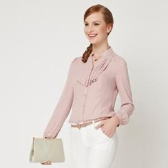 O.SA - Beaded-Collar Pleated Chiffon Blouse