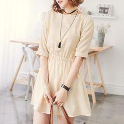 CatWorld - Elbow-Sleeve Plain Dress