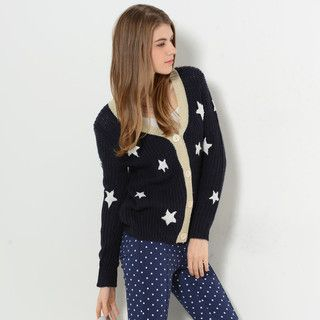 YesStyle Z - Contrast-Trim Star-Print Cardigan