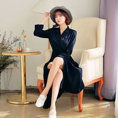 HOTPING - Notched-Lapel Tie-Waist Long Dress