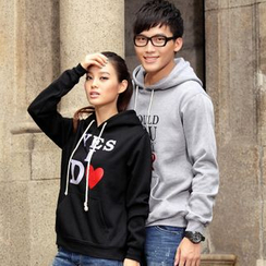Porspor - Couple Matching Lettering Hoodie