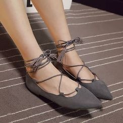 Monde - Tasseled Lace Up Pointed Flats