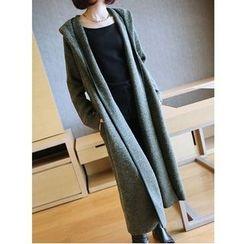 YIDIYU - Plain Hooded Long Cardigan