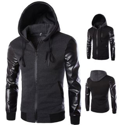 Bay Go Mall - Faux Leather Sleeve Hooded Zip Jacket