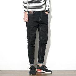 JORZ - Contrast Stitching Slim-Fit Jeans