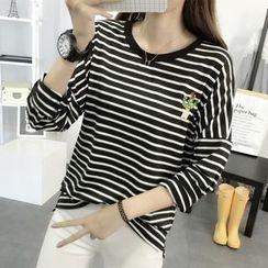SimplyMe - Long-Sleeve Striped T-Shirt