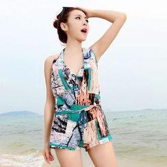 Rachel Swimwear - Set: Patterned Bikini Set + Playsuit