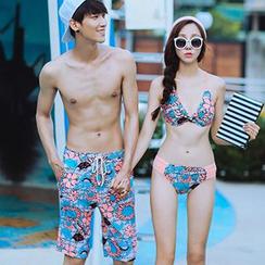 Sewwi - 情侶碎花泳褲 / 套裝: 比基尼泳裝 + 中袖連衣裙