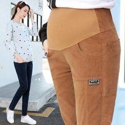 Shandie - 孕婦燈芯絨修身長褲