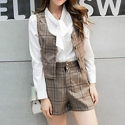 Ashlee - Set: Pintuck Chiffon Shirt + Check Vest + Check Shorts