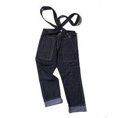 除一 - 宽腿背带牛仔裤