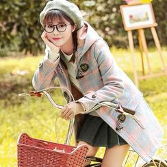 NiFFe - Wool Blend Plaid Hooded Toggle Coat