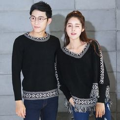 Igsoo - Couple Matching Panel Long-Sleeve Knit Top / Cape