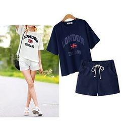 VIZZI - 套裝: 印花短袖T恤 + 抽繩短褲