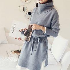 NANING9 - Set: Wool Blend Turtleneck Knit Dress + Sash