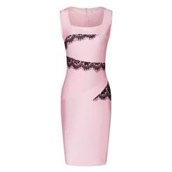 LIVA GIRL - Cap-Sleeve Lace Trim Sheath Dress