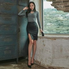 UUZONE - High-Waist Cutout-Hem Skirt