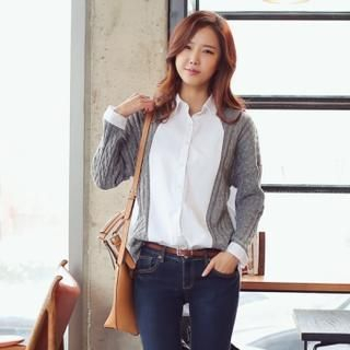 Styleberry - Inset Cable-Knit Cardigan Shirt