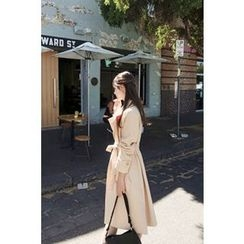 CHERRYKOKO - Double-Breasted Trench Coat with Sash