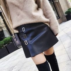 Baliz - Buckled A-Line Faux Leather Skirt
