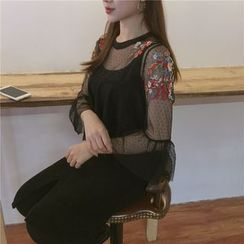 Bloombloom - Embroidered Mesh Top