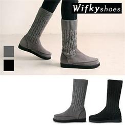 Wifky - Cable-Knit Panel Tall Boots