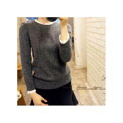 LEELIN - Puff-Shoulder Lace-Trim Knit Top