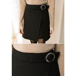 MyFiona - Ring-Buckle Wrap-Front Mini Skirt