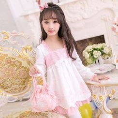 Candy Rain - Kids Rabbit Embroidered Long Sleeve Dress